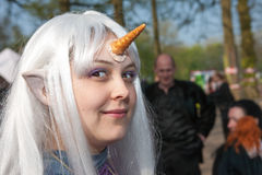 Woman drsessed up as unicorn at Fantasy Fair Stock Photos