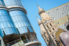 Haas Haus with St. Stephen's Cathedral in Vienna, Austria Royalty Free Stock Image