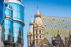 Haas Haus with St. Stephen's Cathedral in Vienna, Austria Stock Photos