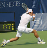 Haas Tennis Backhand. Tommy Haas, a star of German pro tennis, preparing to hit a backhand at the US Open Series event, Leggmason 2007, in Washington DC Stock Photo