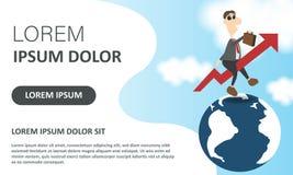 Haast op concept Bedrijfs vectorillustratie Vliegende zakenman zoals een het toenemen pijl op globaal Weblandingspagina stock illustratie