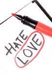 Haat of liefde Royalty-vrije Stock Afbeeldingen