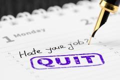 Haat uw baanvraag en houd op met zegel op een planner Stock Fotografie