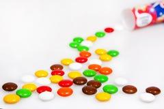 Haba colorida del caramelo de chocolate dulce fotografía de archivo libre de regalías