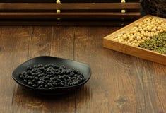 Haba de soja negra Foto de archivo libre de regalías