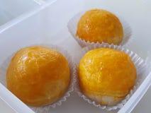 Haba salada de las bolas de masa hervida del huevo en caja de la preservación Fotografía de archivo