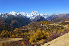 Haba snow mountain landscape in China at autumn Stock Photos
