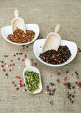 Habanero chillies, chipotle chillies and jalapeno. Chillies in bowls and wooden scoop royalty free stock images