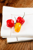 Habanero peppers on napkin Royalty Free Stock Photography