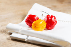 Habanero peppers on napkin horizontal Stock Image