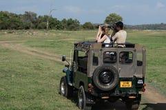 HABARANA, SRI LANKA - AUGUSTUS 25, 2015: Olifantssafari in Sri Lanka Royalty-vrije Stock Fotografie