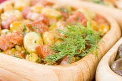 Habas Con Chorizo. Broad beans with chorizo and serrano ham. Traditional Spanish tapas dish Royalty Free Stock Image