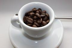 Habas de Coffe en taza de café Imágenes de archivo libres de regalías