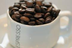 Habas del café express en una taza Fotografía de archivo libre de regalías