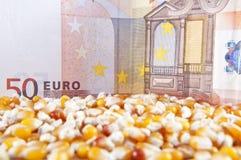 Habas euro del billete de banco y del maíz Imágenes de archivo libres de regalías