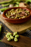 Habas a la catalana, a spanish recipe of broad beans Stock Image