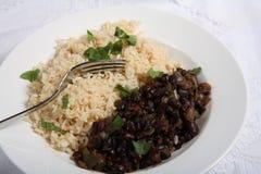 Habas negras y arroz cubanos Foto de archivo libre de regalías