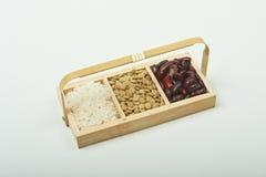 Habas, pelusa y arroz Fotografía de archivo libre de regalías