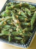 Habas verdes del Miso con la salsa del cacahuete Fotografía de archivo libre de regalías