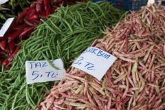 Habas verdes en el mercado turco Fotografía de archivo libre de regalías