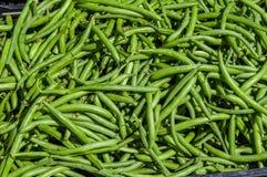 Habas verdes en la exhibición en el mercado de los granjeros Fotografía de archivo
