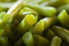 Habas verdes hervidas macras Fotografía de archivo