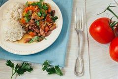 Habas y arroz preparados con las verduras Fotos de archivo libres de regalías