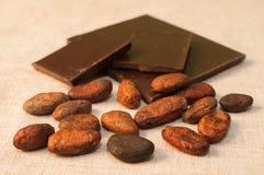 Habas y barras del chocolate Fotografía de archivo libre de regalías