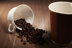 habas y taza del café sólo Fotos de archivo