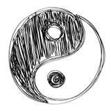 Нарисованное habd знака Ying yang Стоковая Фотография RF