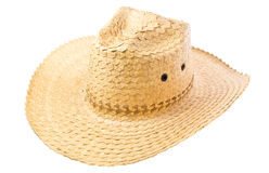 Habdmade straw hat. Isolated on white background royalty free stock photography