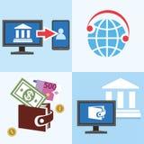 Haben Sie ein Bankkonto, finanzieren Sie, Kundenbetreuung und ein Privatbüro, gefärbt, Ebene Lizenzfreie Stockfotografie