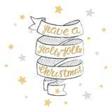 Haben Sie eine lustige Beschriftung Weihnachten der Stechpalme Weihnachtshandkalligraphiekarte Lizenzfreie Stockfotos