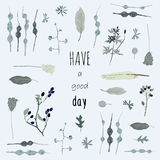 Haben Sie einen guten Tag Blauer Blumendekor Lizenzfreies Stockbild