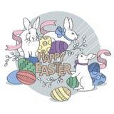 Haben Sie fröhlichen Ostern Osterhase mit farbigen Eiern Stockbild