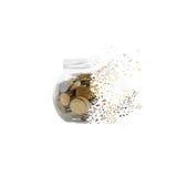 Haben Sie mit Münzen ein Bankkonto, um in Stückchen zu zerbröckeln Lizenzfreie Stockfotos