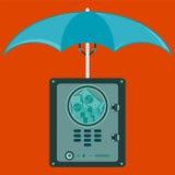 Haben Sie Safe, Wölbung mit Dollarscheinen nach innen unter einem Regenschirm ein Bankkonto stock abbildung