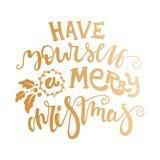 Haben Sie sich frohen Weihnachten Hand, die goldenen Text für glückliches Weihnachten zeichnet Stockbilder