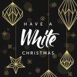 Haben Sie weiße Weihnacht! Geometrische Weihnachtsdekorationen und -beschriftung Glückliches neues Jahr! Lizenzfreies Stockfoto