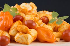 Habenero乳酪凝乳用新鲜的胡椒、蕃茄和牛至 免版税图库摄影