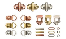 Metal twist locks for bags. Loops and rings. Haberdashery accessories. Metal twist locks for bags. Loops and rings stock illustration