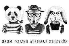 Habillés animaux tirés par la main dans le style de hippie illustration libre de droits