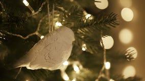 Habillage de la décoration de Noël sur l'arbre avec des lumières de Noël banque de vidéos