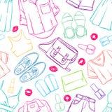 Habillement coloré de croquis sans couture illustration stock