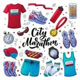 Habillement courant de marathon, vitesse et kit essentiel d'accessoires illustration de style de griffonnage de vecteur illustration de vecteur