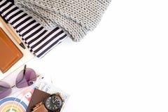 Habillement d'accessoires d'habillement de voyage le long pour le voyage photographie stock