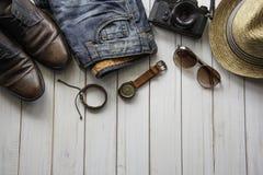 Habillement d'accessoires d'habillement de voyage le long pour le voyage photo libre de droits
