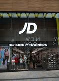 Habillement de sports de JD et magasin de chaussures dans Bracknell, Angleterre Image libre de droits