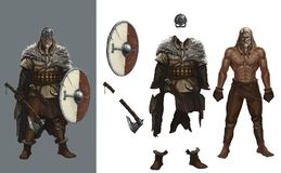 Habillez le bouclier rond Helme de Viking de jeux illustration de vecteur