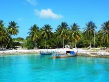 Habitée Maldives aux. d'Ile Images stock